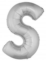 Balão alumínio prateado gigante letra S 1m