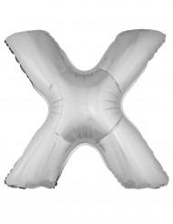 Balão alumínio prateado gigante letra X 1m
