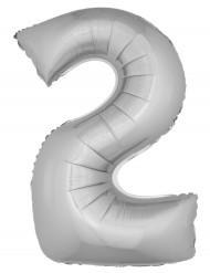 Balão gigante número 2 prateado 102cm