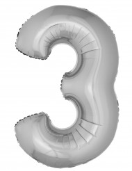 Balão gigante número 3 prateado 1 m