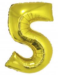 Balão gigante número 5 dourado 102cm