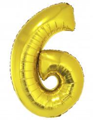 Balão gigante número 6 dourado 1 m