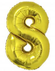 Balão gigante número 8 dourado 102cm