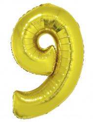 Balão gigante número 9 dourado 102cm