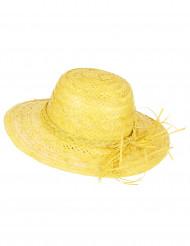Chapéu de palha vintage amarelo mulher