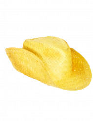 Chapéu de palha Western amarelo adulto