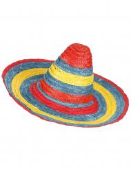 Sombrero mexicano vermelho-verde-amarelo adulto