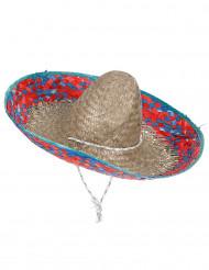 Sombrero Mexicano bordos vermelhos e azuis adulto
