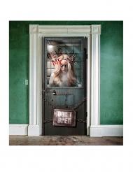 Decoração de porta hospício sangrento Halloween