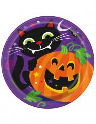 8 Pratos de cartão abóbora Halloween