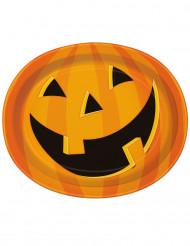8 Pratos grandes Abóbora sorridente Halloween