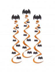 3 Decorações para pendurar espirais morcego Halloween