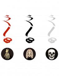 3 Decorações para pendurar esqueleto Halloween