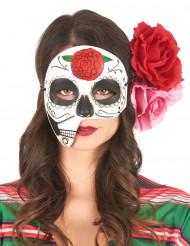 Máscara assimétrica Dia de los Muertos adulto