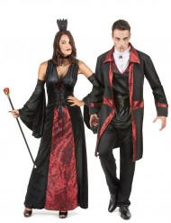 Disfarce de casal vampiro vermelho e preto Halloween