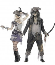 Disfarce de casal fantasma pirata Halloween