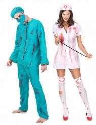 Disfarce de casal zombie cirurgião e enfermeira Halloween