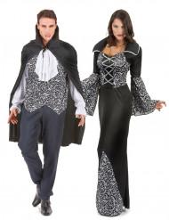 Disfarce de casal vampiro preto e branco Halloween