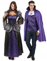 Disfarce de casal vampiro roxo adulto