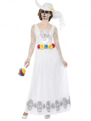 Disfarce noiva vestido longo branco mulher Dia dos Mortos