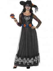 Disfarce noiva vestido comprido preto mulher Dia de los muertos