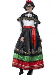 Disfarce mexicano vestido longo Dia dos Mortos