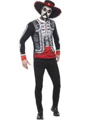 Disfarce mexicano esqueleto Dia de los muertos homem