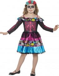 Disfarce esqueleto colorido para menina Dia de los muertos
