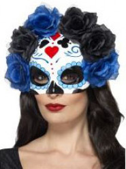 Meia máscara com rosas pretas e azuis para o Dia dos Mortos