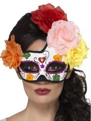 Mascarilha colorida com rosas mulher Dia de los muertos