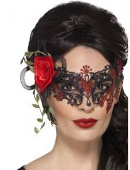 Mascarilha de renda preta e vermelha mulher Dia de los muertos