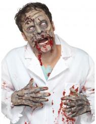 Conjunto máscara e mãos em látex zombie Halloween