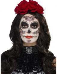 Kit de maquilhagem glamour com pestanas falsas mulher Dia dos Mortos