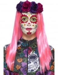 Kit maquilhagem colorida com pestanas falsas e jóias mulher Dia de los muertos