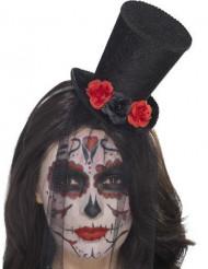 Mini chapéu com rosas e véu mulher Dia de los muertos