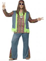 Disfarce hippie flower colorido homem