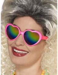 Óculos coração com lentes coloridas mulher