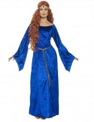 Disfarce medieval azul mulher