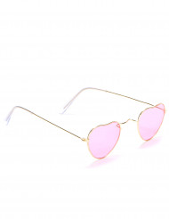 Óculos cor-de-rosa coração metal adulto