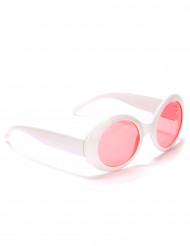 Óculos redondos brancos plástico adulto