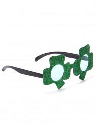 Óculos brilhantes verdes trevo São Patrício adulto