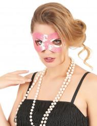 Mascarilha com lantejoulas com lantejoulas cor-de-rosa adulto