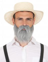 Barba e bigode cinzento adulto
