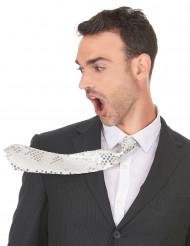 Gravata branca com lantejoulas adulto