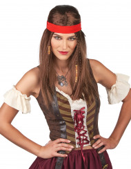 Peruca pirata ou hippie com bandana adulto