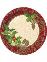 8 Pratos de cartão azevinho de Natal