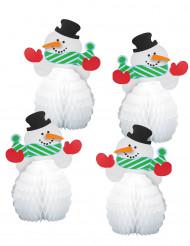 4 Mini centros de mesa Boneco de neve