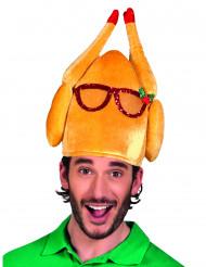 Chapéu de peru com óculos humorístico adulto Natal
