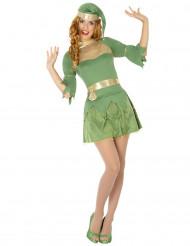 Disfarce elfo verde mulher Natal