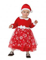 Disfarce Princesa vermelha com flocos bebé Natal
